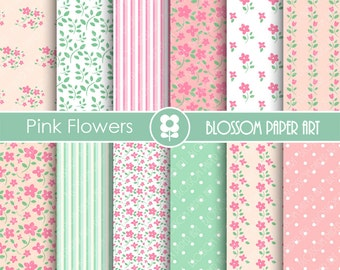 Floral Digital Paper Pink Shabby Chic Papers, Scrapbooking Paper Pack, Pink & Green Floral Papers - INSTANT DOWNLOAD - 1765
