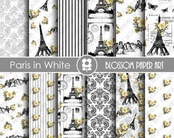 Paris Digital Paper Eiffel Tower Digital Paper Pack, Paris Scrapbooking, Vintage Floral Papers - INSTANT DOWNLOAD  - 1818