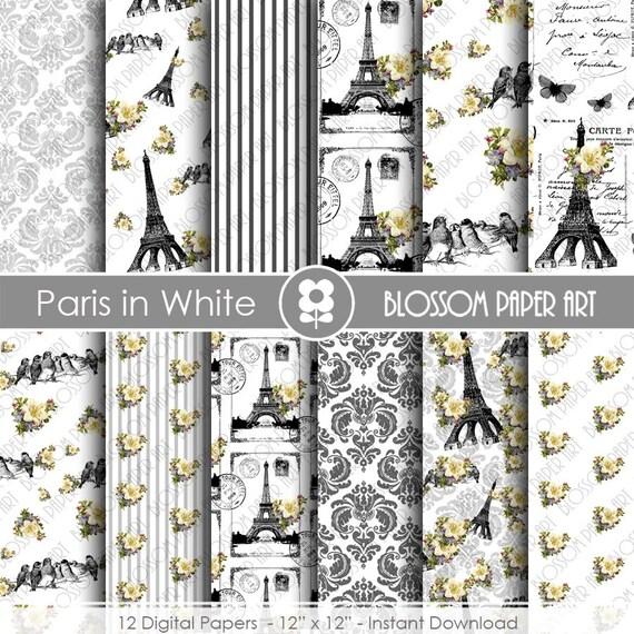 Papel digital blanco y negro paris papeles floreados - Papel de pared blanco y negro ...