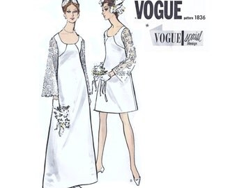 """1967 Vintage Vogue Special Design 1836, High-waisted A-Line Bridal Gown or Cocktail Length Dress, Long Lace or Flower Trim Sleeves, Bust 32"""""""