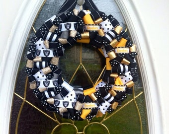 Raiders Steelers House Divided Wreath