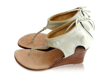 APHRODITE. Ivory leather shoes  / leather wedges /  heels / wedding shoes / bridal shoes. Sizes 35-43. Available in different leather colors