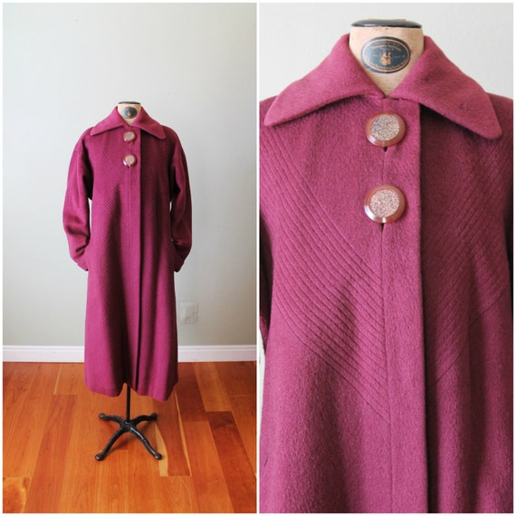 VINTAGE Wool Swing Coat / L / Purple / Burgundy / Pink Lining / Big Glitter Buttons / Alex Catalano
