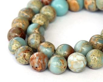 Snake Skin Jasper Beads, A Grade, 8mm Round - 15 inch strand - eGR-JA010-8