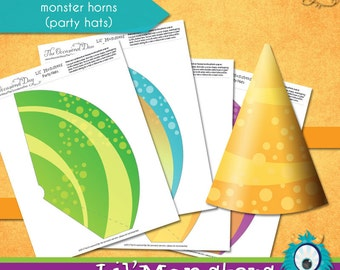 Lil' Monsters Party Hats • PRINTABLE Birthday • by The Occasional Day