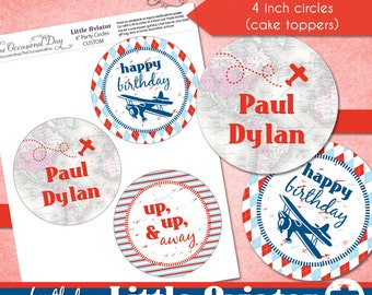 Little Aviator CUSTOM 4 inch Party Circles • PRINTABLE • Birthday • by The Occasional Day