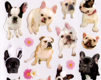 Kawaii Japan Sticker Sheet Assort: La Dolce Vita Series - French English Bulldog Photo Stickers for diy decoration planner schedule book R