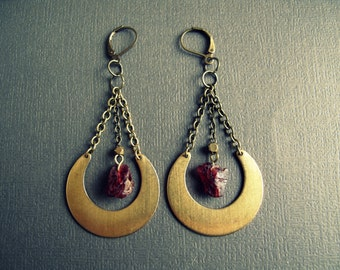 Raw Gemstone Earrings - Raw Crystal Earrings - Raw Garnet Earrings - Boho Crystal Earrings - January Birthstone - Crystal Dangle Earrings