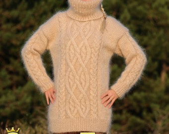 Extra thick beige turtleneck hand knitted mohair sweater with cables by SuperTanya