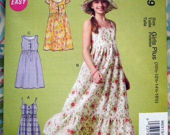 McCall's Girls'/Girls' Plus Dresses And Hat Pattern M6919 - Size 10 1/2 - 12 1/2 - 14 1/2 - 16 1/2