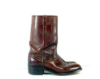 Mens Leather Motorcycle Boots 9 - Brown Leather Cowboy Boots 9 - Johnson & Murphy