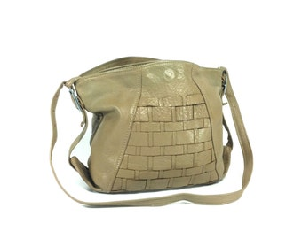Woven Leather Satchel - Boho Leather Bucket Bag - Slouchy Tan Leather Purse