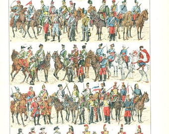 1922 Vintage uniform print Antique cavalry print French illustration horses military gift Vintage military poster Military decor