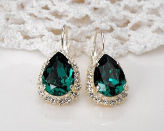 Emerald Earrings Emerald Green Earrings Winter Wedding Green Wedding Green Emerald Bridesmaids Emerald Swarovski Crystal Silver Earrings