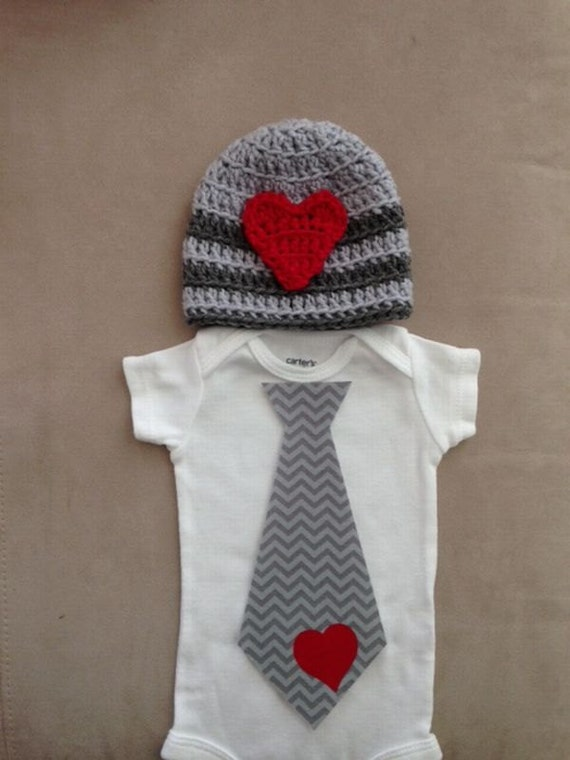Valentine s Day outfit for baby boys Chevron tie by rbsDesigns