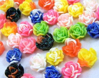 40 Cabochon Roses, Glitter Flowers, Multi Color Resin, Assorted Mix 11mm, Jewelry Supplies