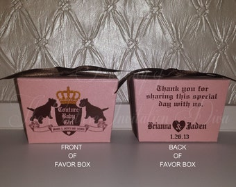 DIY Couture Inspired Baby Shower Favor Box; Personalized Baby Shower Favor Boxes, Personalized Favor Boxes