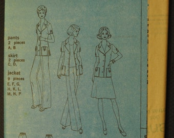 Misses' Unlined Jacket, Skirt, and Pants 1970s UNCUT Vintage Sewing Pattern Simplicity 6936 Size 14 1/2 - 16 1/2 & 18 1/2 - 20 1/2