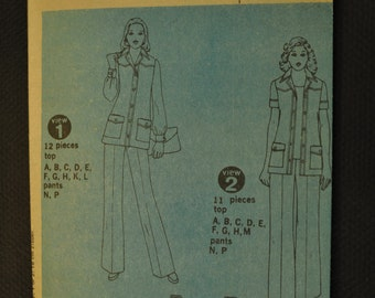 Simplicity 6405 Misses Pant Suit Size 14, 16, or 18 Uncut Vintage 1970s Sewing Pattern Year 1974 Designer Fashion