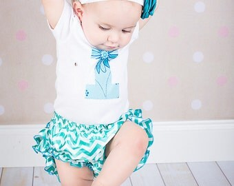 Baby Girl First Birthday Outfit, One Piece Bodysuit, Bloomers and Headband Set, Blue, Turquoise, Ruffles, Photo Prop, First Birthday Set