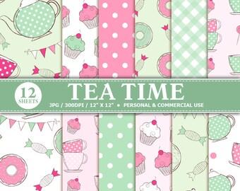 70% OFF SALE 12 Tea Time Digital Scrapbook Paper, digital paper patterns for card making, invitations, scrapbooking  graph