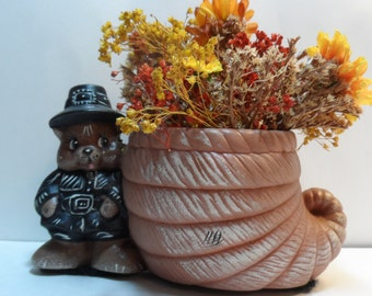 Pilgrim Bear Cornucopia  Natural Dried and Artificial Flowers Hand Painted Pottery Vase Signed Josie Cicero