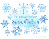 Snowflakes watercolor clip art - Set of 14 Hand drawn Christmas clip art - High Resolution, Digital illustrations to download, Winter, Blue