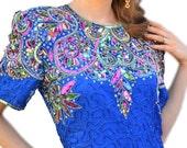 RESERVE for Raifa Laurence Kazar Diamanté Dress Sequin Peacock Swirl Feather Leaf Design 1980s Multicolor Beadwork Formal Sapphire Blue Gown