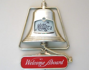 "Vintage Ship Bell Customizable Lighted Beer Sign - ""Welcome Aboard"""