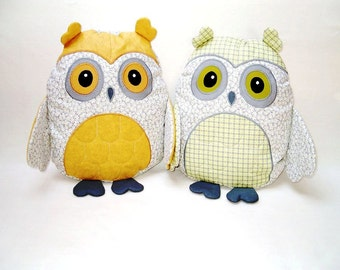 yellow and gray nursery, decorative owl pillow, gray and yellow owl, yellow, white and grey baby shower decor, accent pillow