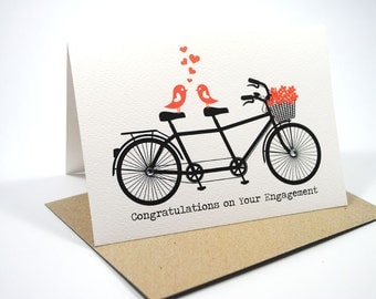 Engagement Card Congratulations - Black Tandem Bike with Love Birds and Red Flowers - ENG017