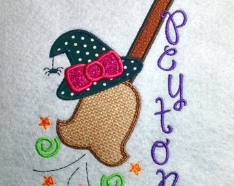 Girls Witch Broom Personalized Applique Baby/Toddler Shirt
