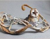 SALE 60% OFF - Fantasy Barn Owl Bird Sculpture - Clay Animal Figurine by Danielle Trudeau