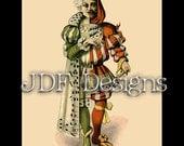 Instant Digital Download, Vintage Edwardian Era Graphic, Antique Harlequin Jester, Mardi Gras, Performer, Printable Image, Costume