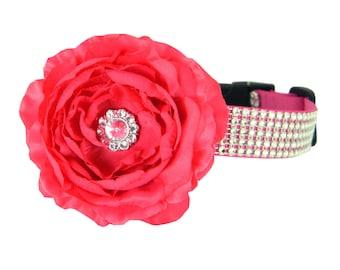 Pink Rhinestone Dog Collar Flower Set,  Dog Collar Flower: Silver on Pink Rhinestone
