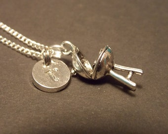 Personalized Charm Necklace- Silver Barbeque