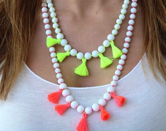 White and Tassel Necklace. Neon Necklace. Adjustable necklace. White and neon yellow necklace