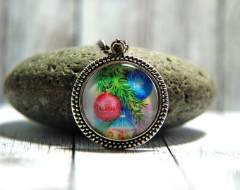 """1"""" Square  Glass Pendant Necklace or Key Chain  - Vintage Christmas Tree Ornaments"""