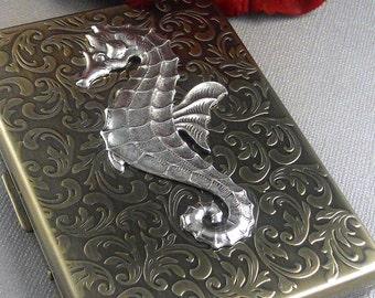 Metal Cigarette Case Seahorse Antique Silver Gothic Victorian Art Nouveau Steampunk