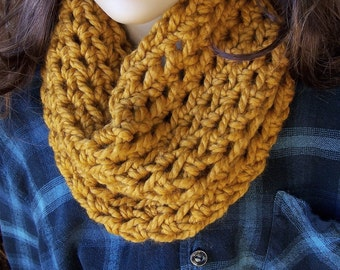 Cozy warm crochet cowl neck warmer handmade hand crocheted acrylic wool women mustard gold chunky butterscotch