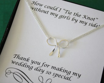 8 Tie the Knot Necklaces, Silver Bow, Bridesmaid Gifts, Sterling Silver, Silver Knot Necklace, Thank you card