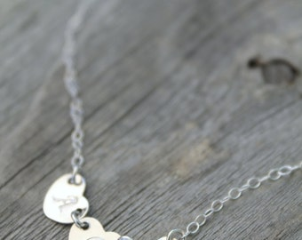 Three Hearts 3 Initials Necklace, All 925 sterling silver, personalized, Monogram, letter A B C D E F G H I J K L M N O P R S T U V W Y Z
