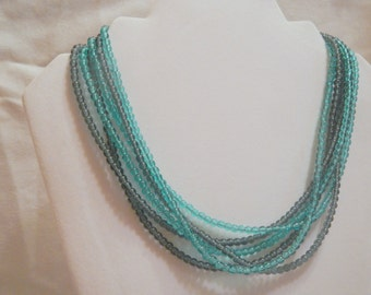Blue and Grey Multistrand Necklace