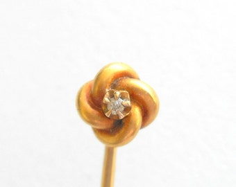 Victorian Stick Pin 14K Love Knot with Diamond