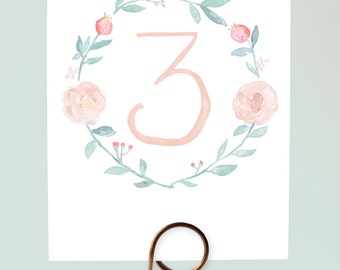 Printable Table Numbers - Romantic Watercolor Floral Wreath  - Numbers 1-15 - Watercolor Wreath Table Numbers, Floral Wreath, Pastel Wedding