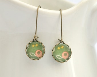 Olive Green, Coral and Mustard Glass Drop Earrings