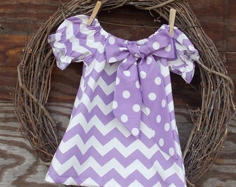 Girls Dress, Girls Easter Dress, Girls Peasant dress, Kids purple Dress, Purple Chevron Dress