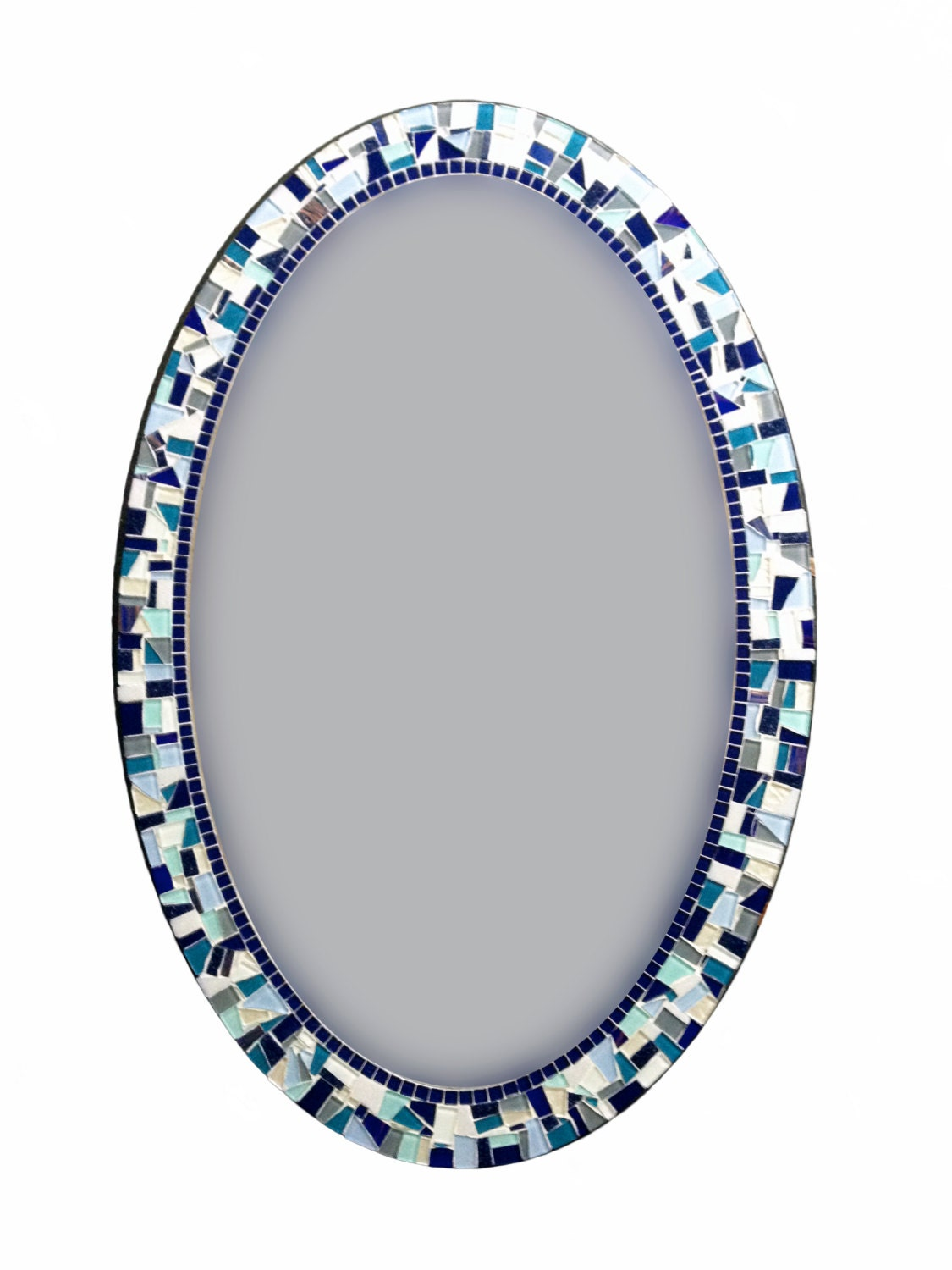Large oval mosaic mirror navy blue white aqua ready to for Mosaic mirror