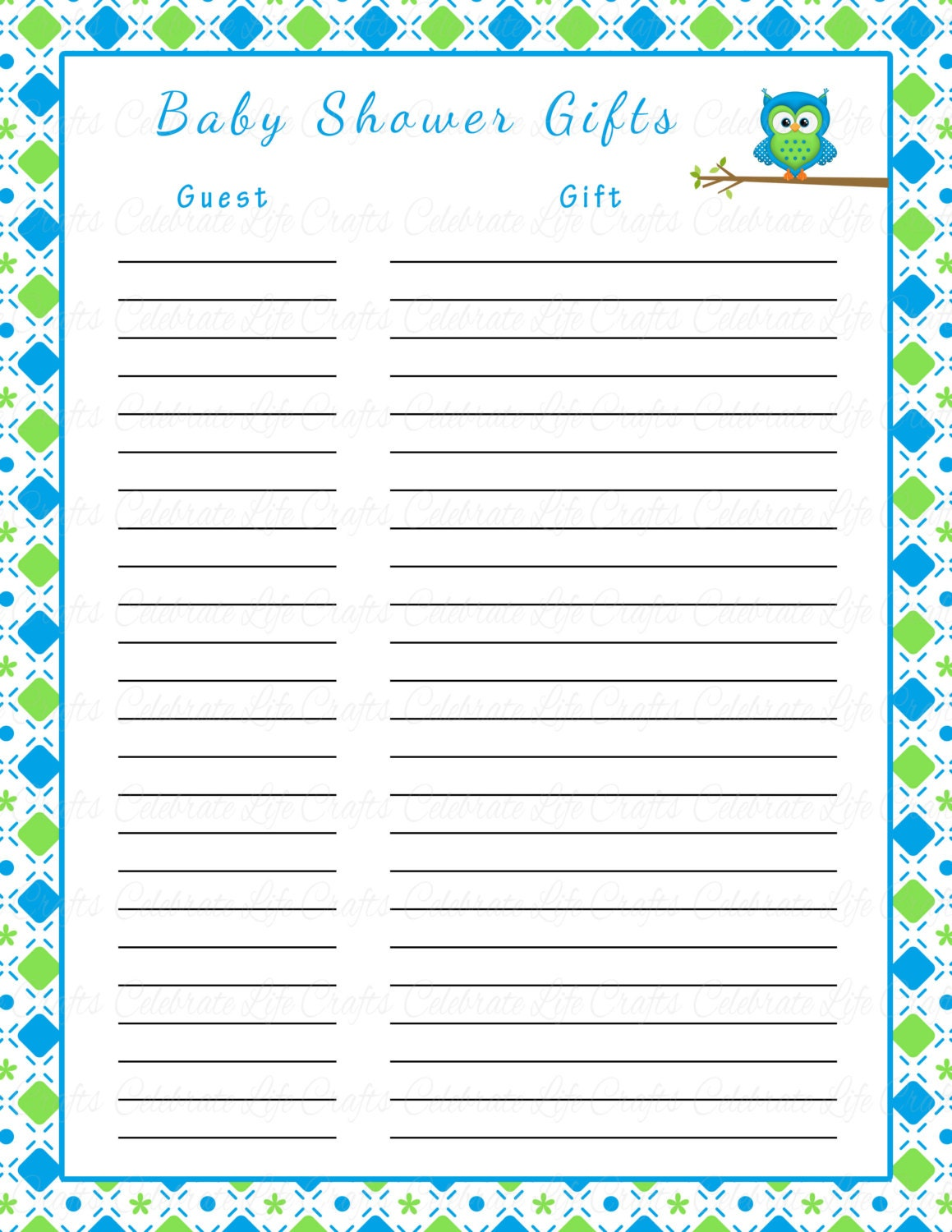 free printable baby shower guest list – Baby Shower Guest List Template