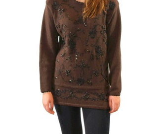 CLEARANCE Sale - Pullover Sweater Embroidered Sweater. Long Chocolate Brown Pullover. 1980s Fashion. Brown Black.